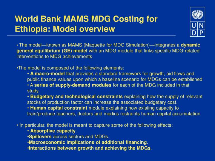 World Bank MAMS MDG Costing for Ethiopia: Model overview