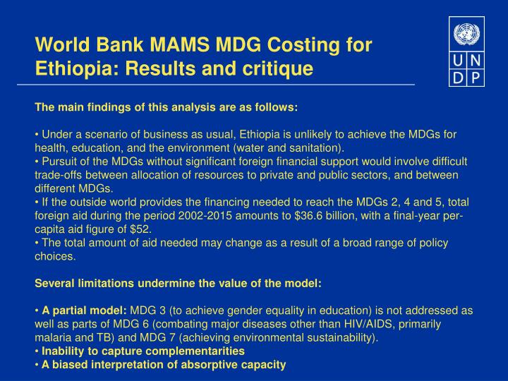 World Bank MAMS MDG Costing for Ethiopia: Results and critique