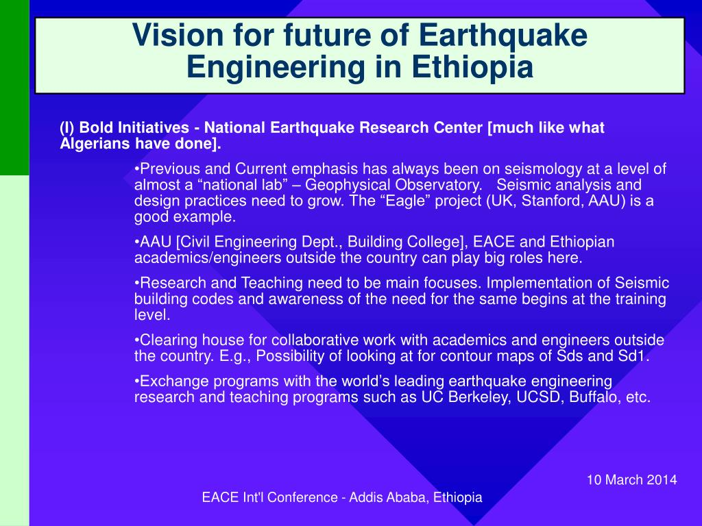 Vision for future of Earthquake Engineering in Ethiopia