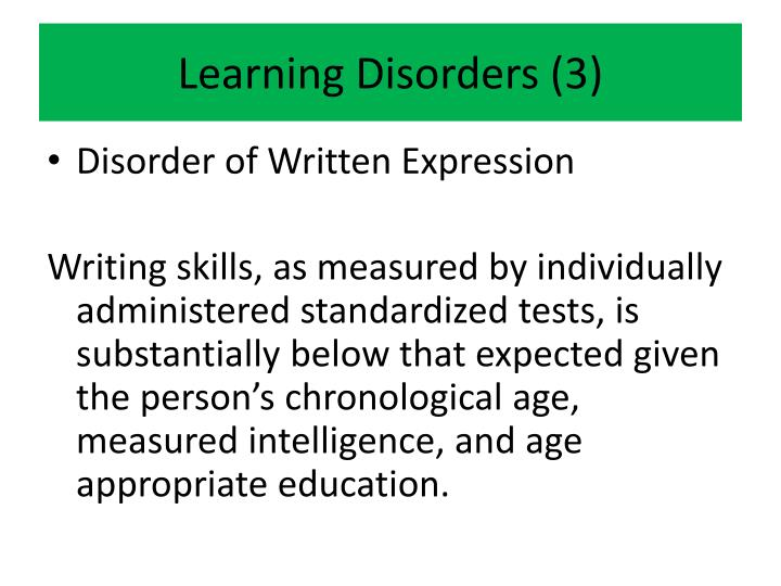 Learning Disorders (3)