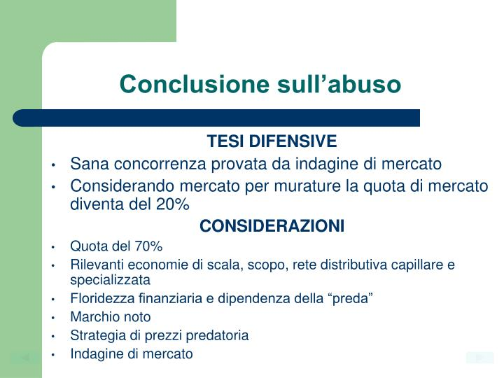Conclusione sull'abuso