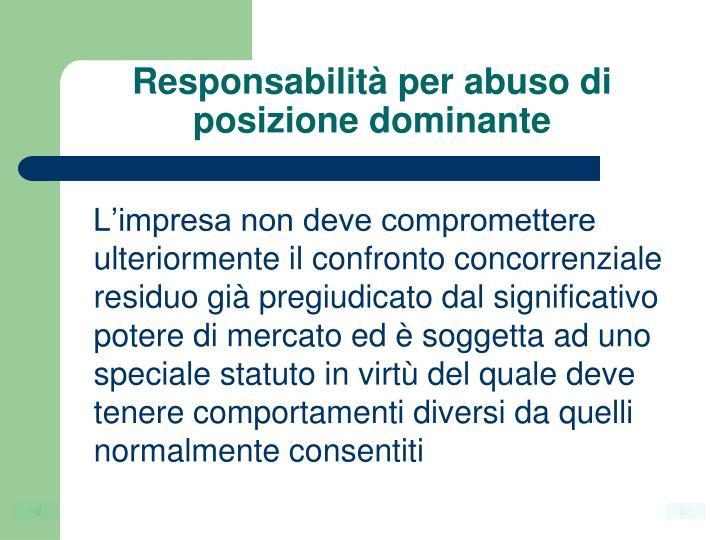 Responsabilità per abuso di posizione dominante