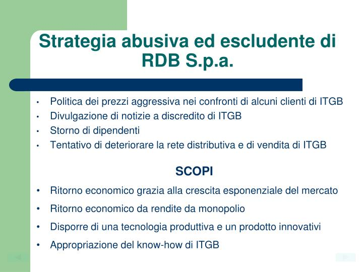 Strategia abusiva ed escludente di