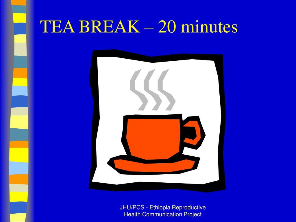 TEA BREAK – 20 minutes