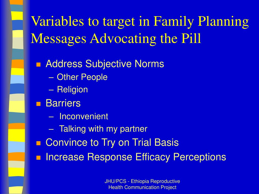 Variables to target in Family Planning Messages Advocating the Pill