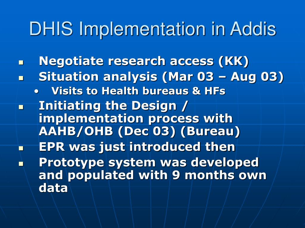 DHIS Implementation in Addis