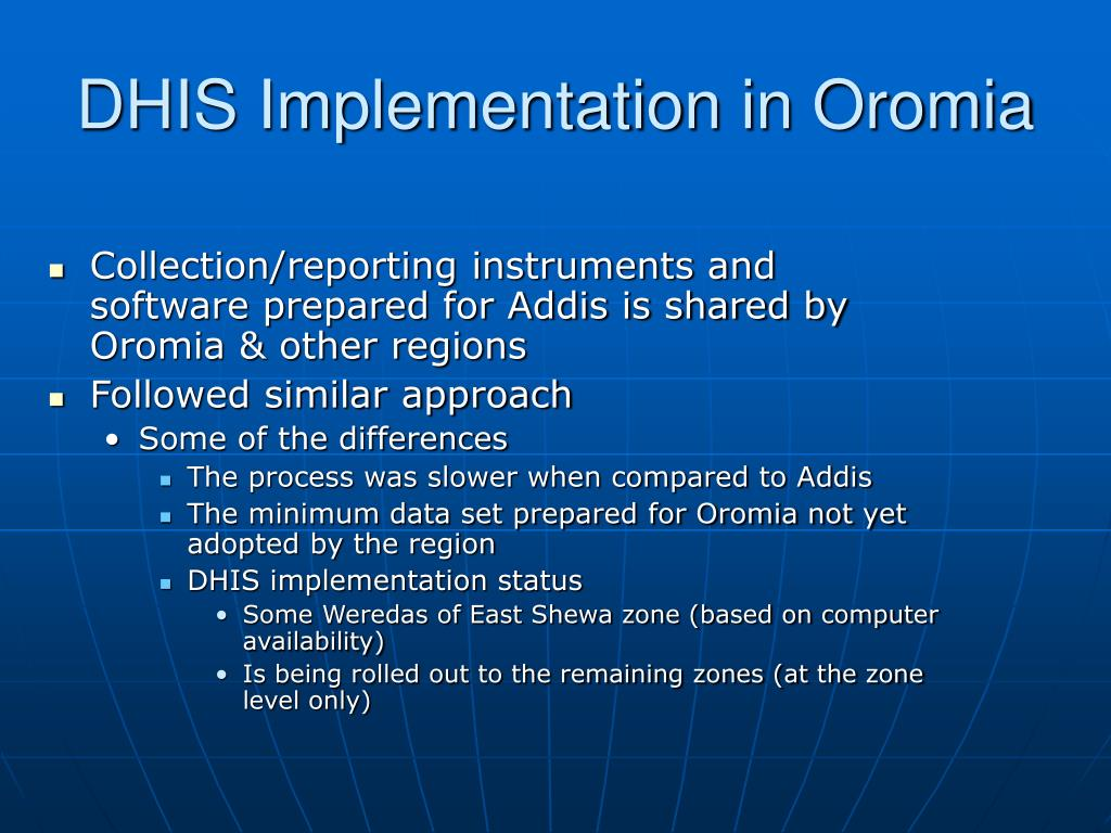 DHIS Implementation in Oromia