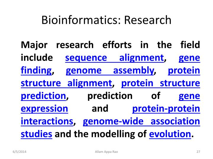 Bioinformatics: Research