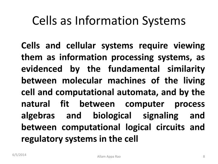 Cells as Information Systems