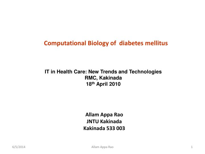 Computational biology of diabetes mellitus