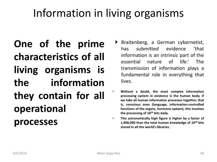 Information in living organisms