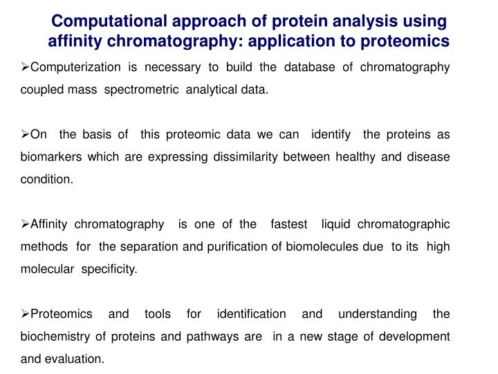 Computational approach of protein analysis using affinity chromatography: application to proteomics