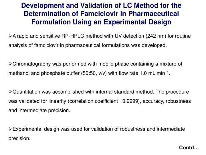 Development and Validation of LC Method for the Determination of Famciclovir in Pharmaceutical Formulation Using an Experimental Design