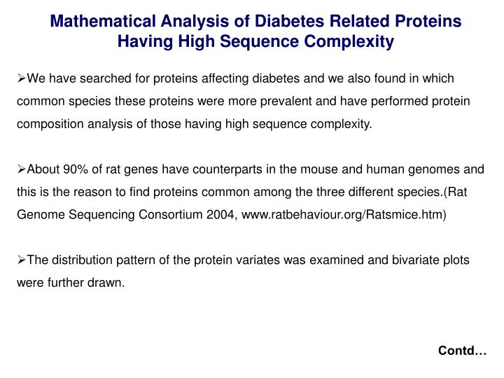 Mathematical Analysis of Diabetes Related Proteins Having High Sequence Complexity