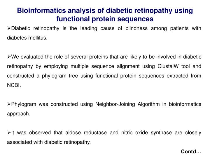 Bioinformatics analysis of diabetic retinopathy using functional protein sequences