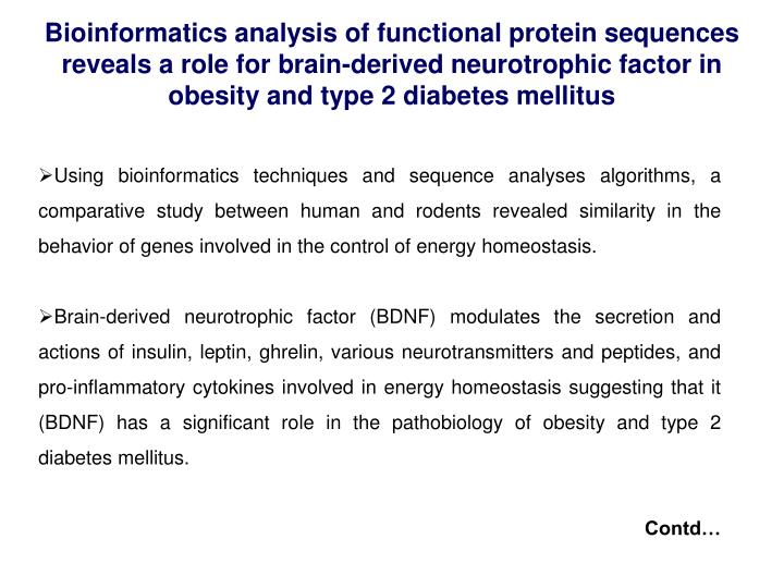 Bioinformatics analysis of functional protein sequences reveals a role for brain-derived neurotrophic factor in obesity and type 2 diabetes mellitus