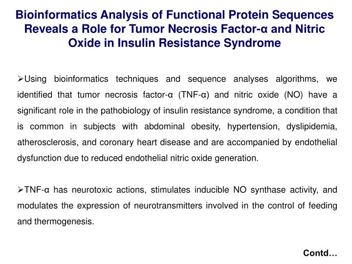 Bioinformatics Analysis of Functional Protein Sequences Reveals a Role for Tumor Necrosis Factor-α and Nitric Oxide in Insulin Resistance Syndrome