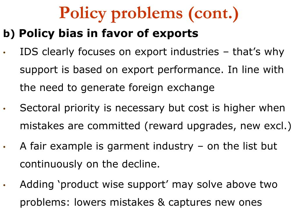 Policy problems (cont.)