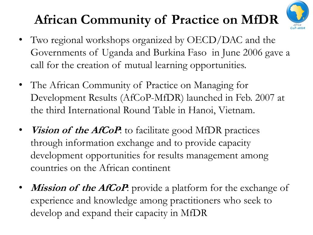 African Community of Practice on MfDR