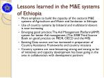 lessons learned in the m e systems of ethiopia