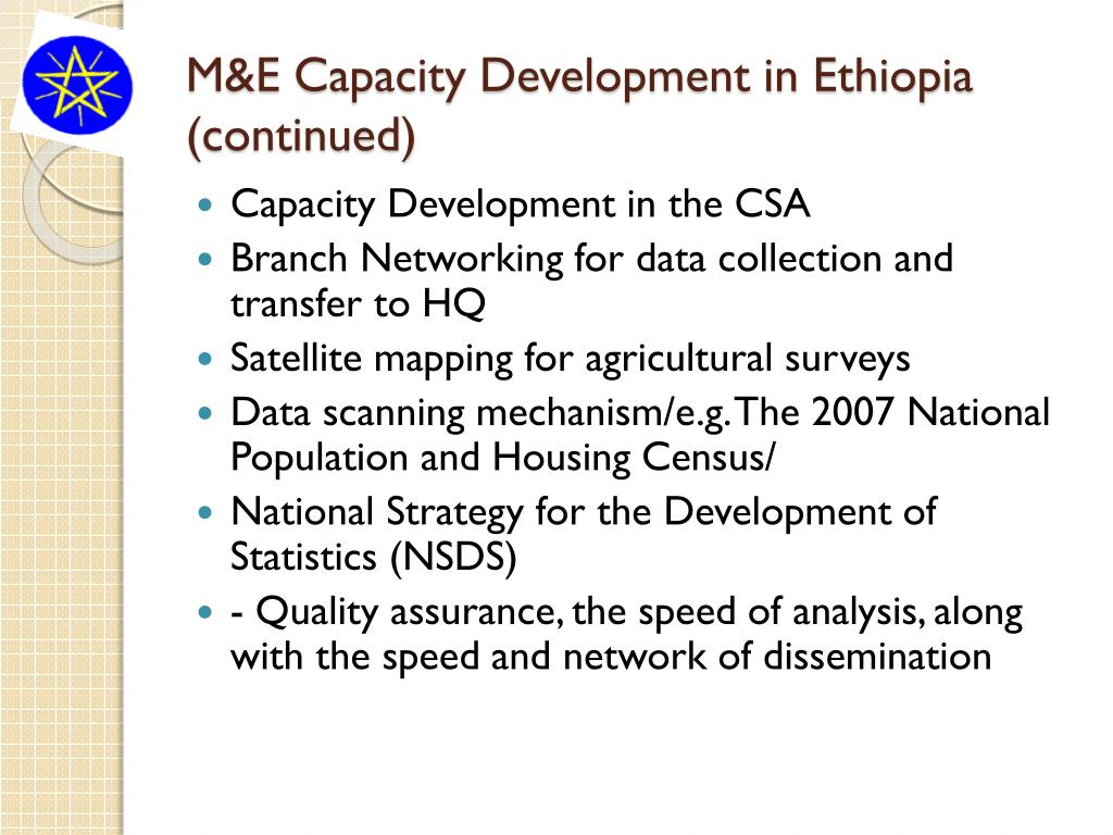 M&E Capacity Development in Ethiopia (continued)