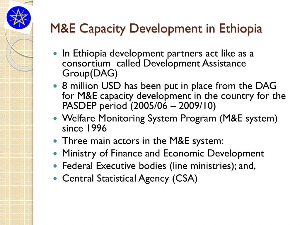 M&E Capacity Development in Ethiopia