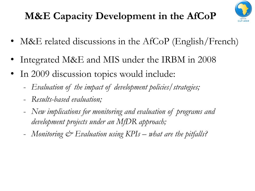 M&E Capacity Development in the AfCoP