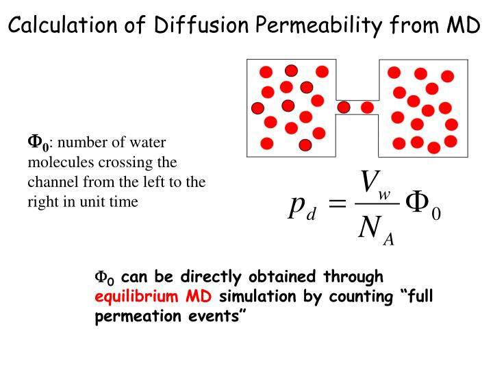 Calculation of Diffusion Permeability from MD