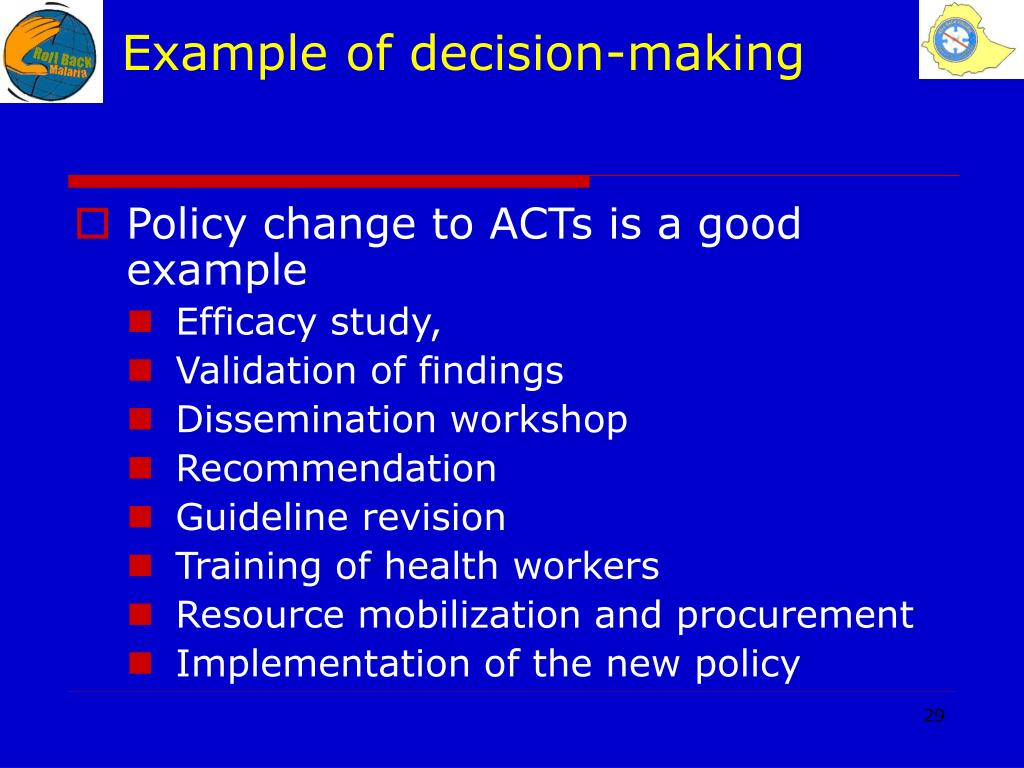 Example of decision-making