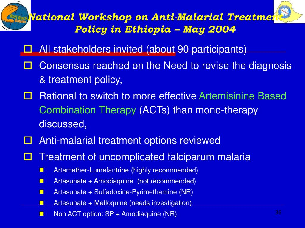 National Workshop on Anti-Malarial Treatment Policy in Ethiopia – May 2004