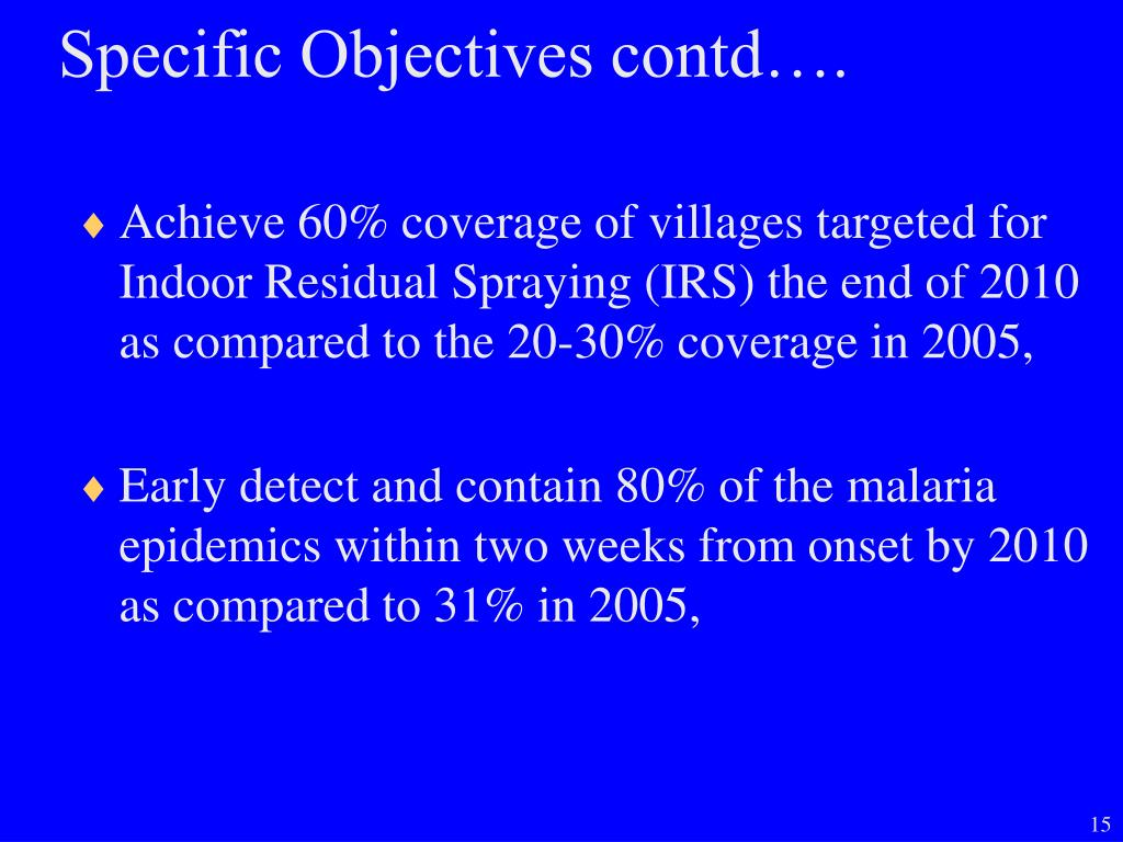 Specific Objectives contd….
