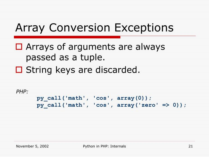 Array Conversion Exceptions