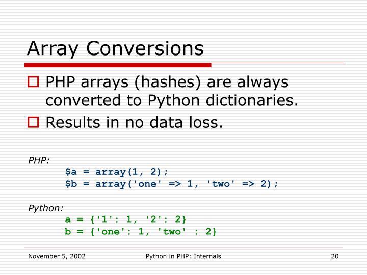 Array Conversions