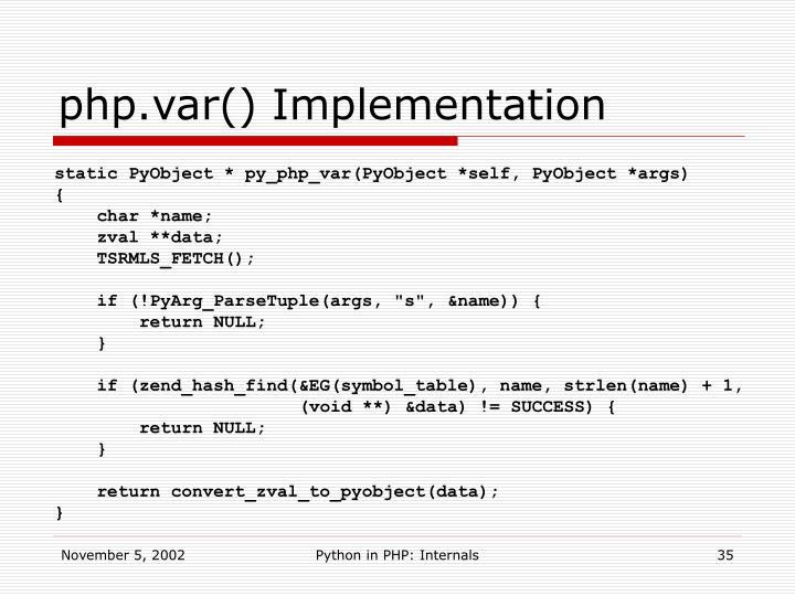 php.var() Implementation