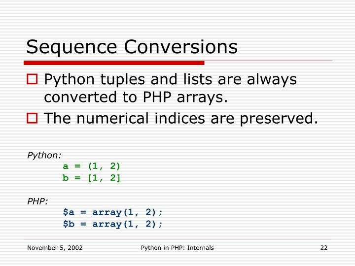 Sequence Conversions