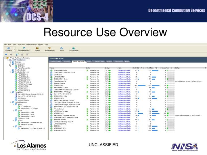 Resource Use Overview