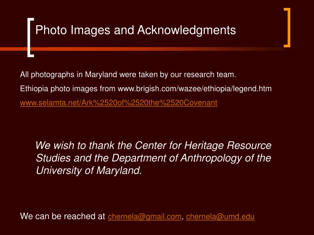 Photo Images and Acknowledgments