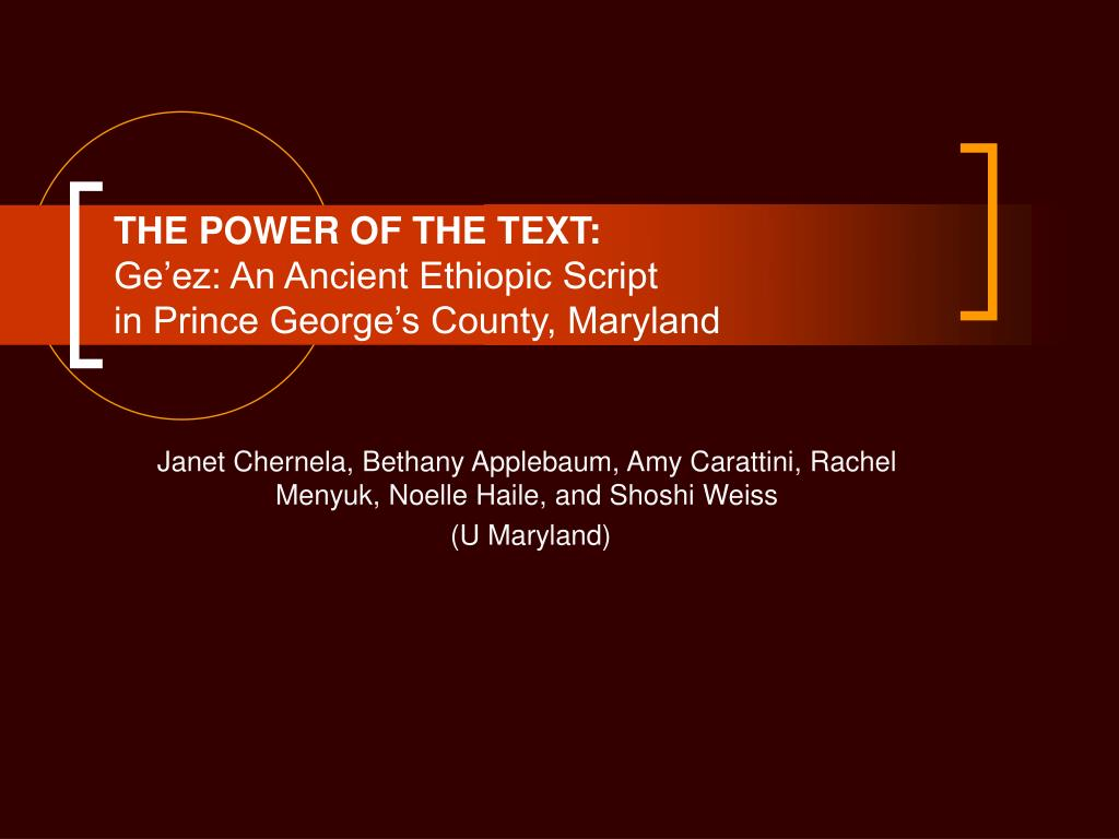 the power of the text ge ez an ancient ethiopic script in prince george s county maryland