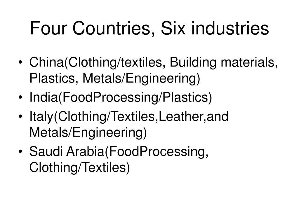 Four Countries, Six industries