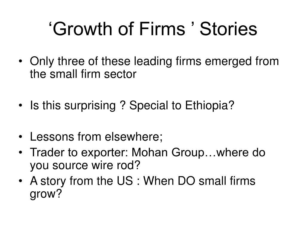 'Growth of Firms ' Stories