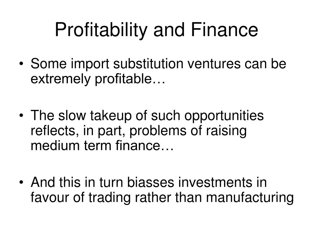 Profitability and Finance