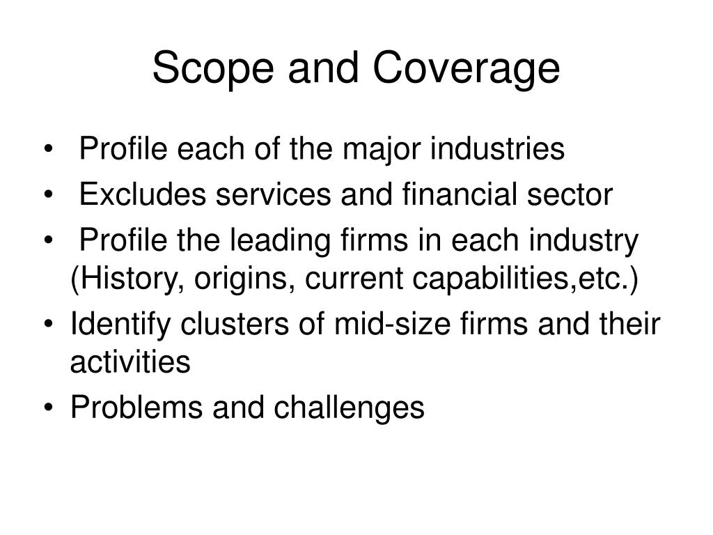 Scope and Coverage