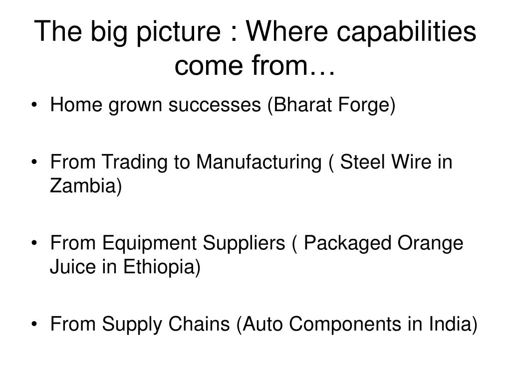 The big picture : Where capabilities come from…