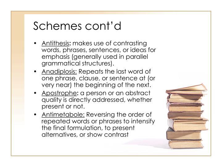 Schemes cont'd