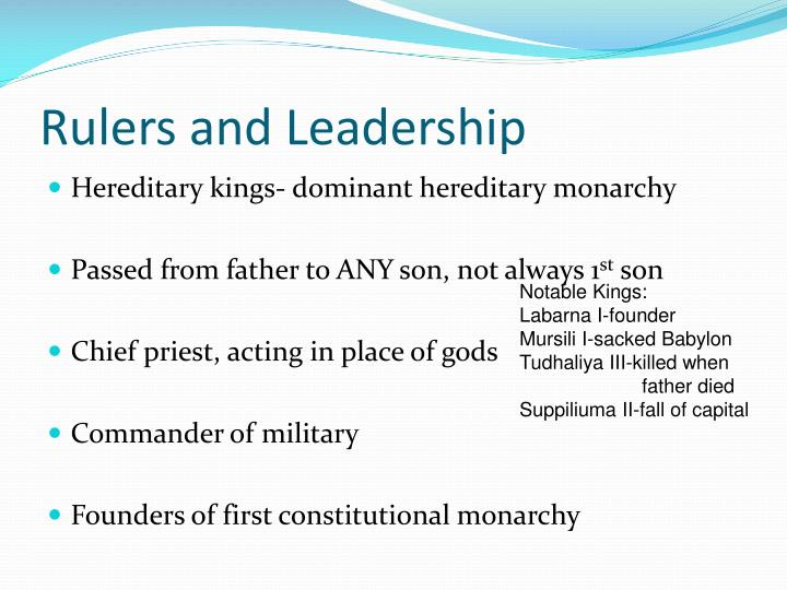 Rulers and Leadership
