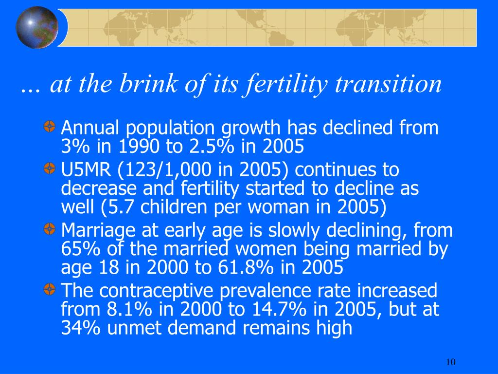 … at the brink of its fertility transition