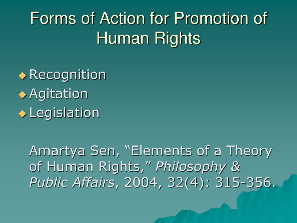 Forms of Action for Promotion of Human Rights