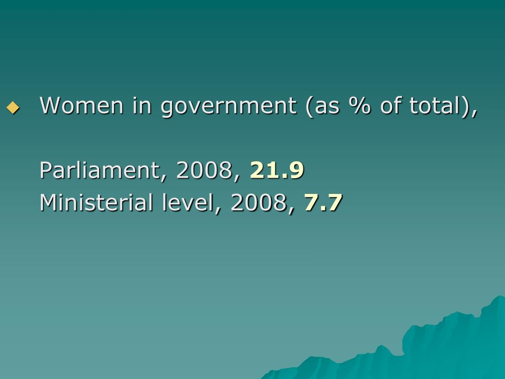 Women in government (as % of total),