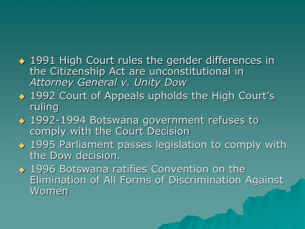 1991 High Court rules the gender differences in the Citizenship Act are unconstitutional in