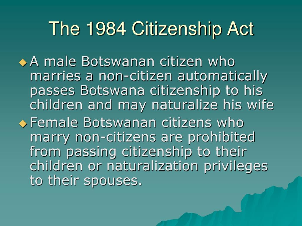 The 1984 Citizenship Act